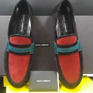Dolce and Gabbana multi color suede moccasins